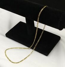 Solid 14kt Yellow Gold Figaro Link Chain Necklace 18in 585 Spring Clasp