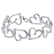 "10K White Gold Round Diamond Bracelet 14.50mm Wide Heart Shape Link 7"" 1/8 Ct."