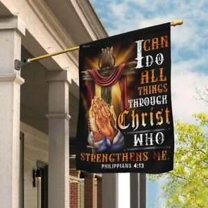Christian Jesus. I Can Do All Things Through Christ, Garden Flag  House Flag