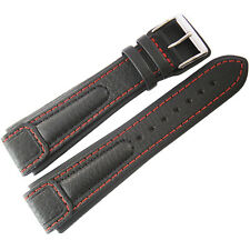 20mm Di-Modell Chronissimo Mens Long Black Red Leather German Watch Band Strap