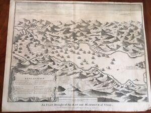 RARE 1745 Large Folded Map, Bay Harbour of VIGO, Northwest Spain, Europe Spanish