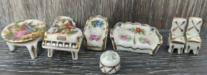 Vintage Limoges Dollhouse Miniature Furniture Table and Chairs Piano 7 Piece Set