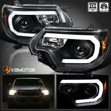 For 2012-2015 Toyota Tacoma LED Strip Bar Projector Headlights Black Left+Right