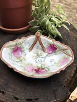 Antique Nippon Hand Painted Moriage Pink Rose Unusual Shape Beaded Dish Handle