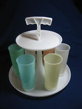 Vintage Tupperware Tumbler Carousel Caddy Tray w/ Handle and 6 Tumblers & 4 Lids