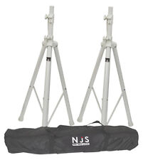 Economia Set di 2 WHITE DJ Band Club Altoparlante Music Stand & Carry Bag Custodia Kit