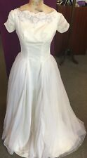 Vintage 1950's Cap Sleeves Wedding Dress with Full Skirt, Embellished Neckline