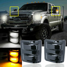 LED Side Mirror Marker Lights Switchback Smoked For Ford F250 F350 F450 2008-16