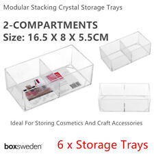 6X Clear Acrylic Compartment Organizer Storage Container 16x8cm Makeup Tray Box
