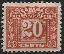 Canada VanDam # FX77 20c red Excise Tax Revenue Stamp of 1934
