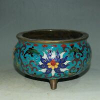 Chinese Cloisonne Enamel Bronze Twisted Branches Lotus Tripodia Incense Burner