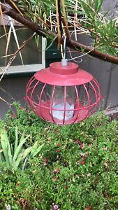 Vintage Round Red Metal Bird Feeder wildlife outdoor accessories FREE SHIP