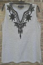 JONES NEW YORK Striped Sleeveless Shirt Top Indigo Blue Floral Embroidery Sz M