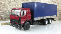 Scale model truck 1:43 MAZ-6303 side with awning red/blue 1995