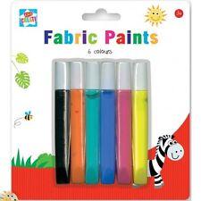 6 PACK FABRIC PAINTS PENS PERMANENT T-SHIRT CLOTHES DESIGNS ASSORTED COLOURS