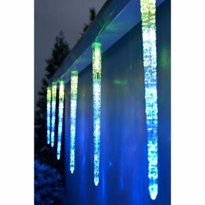 Snowfall/Meteor Shower Tube Multicoloured LED Icicle Lights Set of 8 3.6m