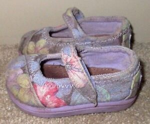 Toddler Girls Size 3 Baby Toms Floral Lilac Faded Tropical Mary Jane Shoes T3