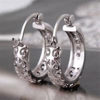 Luxury 925 Silver White Topaz Women Jewelry Fashion Ear Stud Hoop Earrings ~69