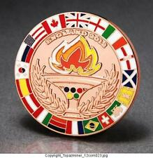 OLYMPIC PINS 2012 LONDON ENGLAND BRONZE MEDAL MEDALLION + FLAGS & TORCH RELAY