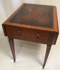 WEIMAN TABLES HEIRLOOM Leather Top Drop Leaf Side Table Wheels Mahogany / Cherry