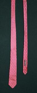 "VINTAGE 1960'S NARROW RED CLASSIC PRINT RAYON TIE  56"" L X 2"" ""W"