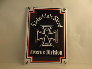 """WH Emaille Schild Baltikum Freikorps Eiserne Division """"Lieber tot als Sklav"""""""