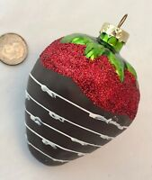 """Christmas Ornament CHOCOLATE-DIPPED STRAWBERRY Hand-Painted RED GLITTER Glass 3"""""""