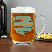 Personalised Shining Star Tankard Beer Glass FREE TEXT NEW any Occasion Father's