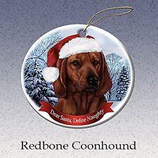 Holiday Pet Gifts Redbone Coonhound Santa Hat Dog Porcelain Ornament