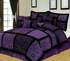 Safari 7-Piece Suede Comforter Set - Purple - Twin Size