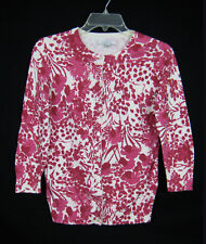 GH Bass & Co Cardigan Sweater Women Size XS White Red Floral Print Long Sleeve