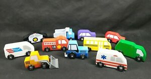 WOODEN CARS MAIL POLICE AMBULANCE FIRETRUCK PLASTIC WHEEL COMPATIBLE WITH OTHERS