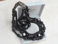 Art Deco Style Multi Strand Black Foil Glass Beaded Necklace