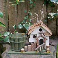 Vintage Wood Outdoor Garden Freestanding Nesting Box Bird House Feeder Station