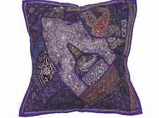 "Purple Living Room Euro Sham - Beaded Sari Patchwork Big Floor Pillow Cover 26"""