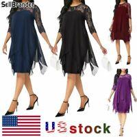 Women's Plus Size Irregular Hemline Loose Chiffon Lace Party Evening Midi Dress
