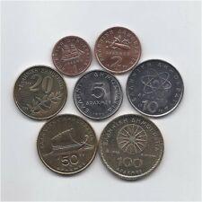 GREECE 1990 - 2000 SEVEN DIFFERENT HIGH GRADE DRACHMAS / DRACHMES COINS SET