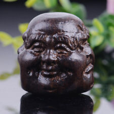 Collectibles Wood Tibetan Buddhism 4 Expression Faces Buddha Head Statues Gift