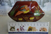 Vintage Hand Painted Unusual Shaped Porcelain Wild Life Water Scene. Hinged Box