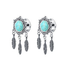 Vintage Bronze Silver Turquoise Feather Dangle Ear Plug Flesh Tunnel Stretcher