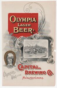 Beautiful Rare 1890s Pre Pro Color Advertisement Olympia Lager Beer Olympia WA