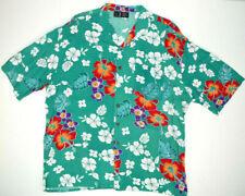 Vtg Rayon Hawaiian Shirt XL 70s Sea Foam Hawaii Kurt Cobain Aloha Grunge