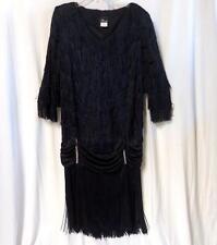 Vintage Black Fringe 20s Style Flapper Dress Sz. 14W / 34W Great Gatsby Costume