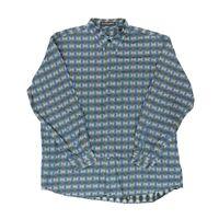 "Jhane Barnes Men XL 51"" Long Sleeve Button Shirt Cotton Native Geometric Blue"