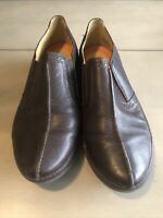 CLARKS UNSTRUCTURED LIGHTWEIGHT LEATHER SLIP ON CASUAL SHOES UK 5 1/2 Brown