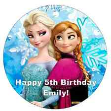 Elsa And Anna Frozen Cake Topper Personalised Edible Wafer Paper 7.5""