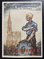 1941 Strassburg Germany Advertising Rare Postcard Cover Economic Power