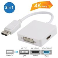 Display Port  to VGA DVI HDMI 3 in 1 DP to vga Female 4K Adapter Converter Cable