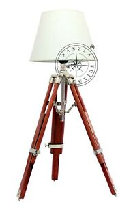 Table/Desk Lamp Antique Nautical Floor Shade Lighting Adjustable Wooden Tripod