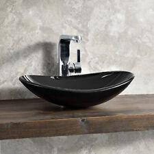 B-WARE Waschbecken Schwarz Waschschale 47x31cm Glas Waschtisch Aufsatzbecken